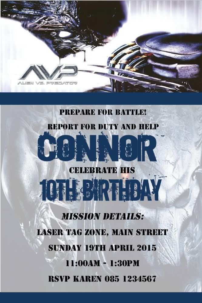 Personalised Alien Vs Predator Invitations